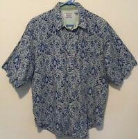 Bugle Boy Company Mens Vintage Blue & Gray Button-Front Short Sleeve Shirt Sz L