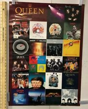 Vintage Music Poster Queen Discography Freddy Mercury Brian May Classic Rock