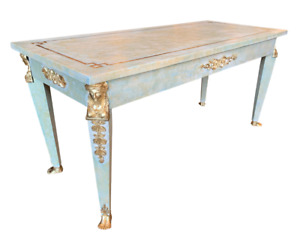 Early 20th Century French Empire Refinished Painted Parcel Gilt Coffee Table