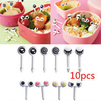 10x Cute Eye Mini Food Fruit Picks Baby Kid Forks Bento Lunch Box Tool Tableware