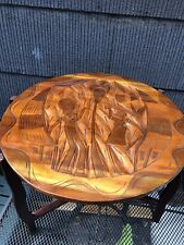 Vintage PORTABLE FOLDABLE WOODEN HAND CARVED  Coffee OR CHESS TABLE