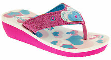 Girls Size 10 Wedge Sandals Summer Kids Pink Heart Holiday Party Shoes Wedges