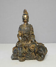 Chinese  Antique  Bronze  Statue  Of  Kwan-Ying  On  The  Elephant        M2022