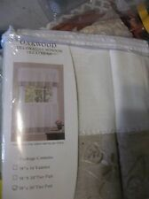 Oakwood Natural White Floral Kitchen Curtain tier pair 58x36