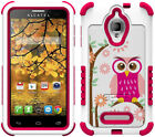 PINK DAISY OWL DUO-SHIELD DESIGN CASE COVER FOR ALCATEL ONE TOUCH FIERCE 7024W
