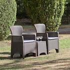 Suntime Roma Balcony Bistro 3pc Set - Plastic Rattan Garden Furniture W/cushions