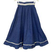 Vintage Gunne Sax Denim & Lace Skirt 7 Small 24x34 Maxi Jessica McClintock Jeans