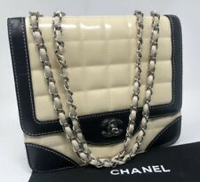 88579b0393f CHANEL Ivory Patent Leather Chocolate Bar Quilted Flap Shoulder Bag Chain