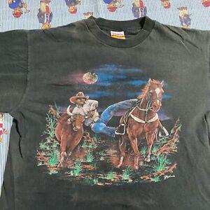 VIntage Hazelwood Roedo Cowboy T shirt Adult XL Steer Roping Black Cotton USA