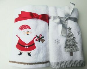 Embroidered Santa  Christmas Tree 100% Turkish Cotton Hand Towel, White Red Grey
