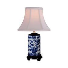 "Blue and White Porcelain Bird Motif Cylindrical Porcelain Vase Table Lamp 15"""