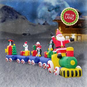 XXXL Weihnachtszug 600cm Eisenbahn Weihnachtsmann Weihnachtsfiguren beleuchtet
