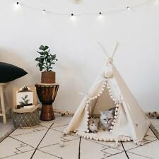 Luxury Pet Teepee Bed - Elegant Cat Dog Puppy White Pompon Canvas Tent House...