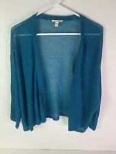 Eileen Fisher Organic Linen Cardigan Size XL Womens Teal Open Front Knit