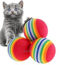 10pcs Rainbow Ball Pet Cat Kitten Soft Play Tennis Balls Activity Fun Chew Toys