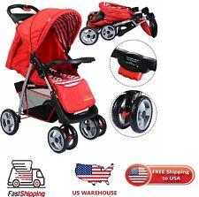 Foldable Baby Kids Travel Stroller Pram Infant Buggy Child Durable Pushchair Red