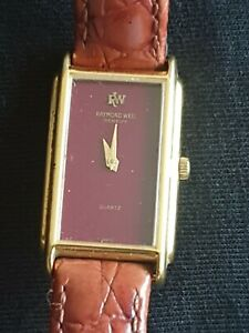 Raymond Weil Vintage Ladies Watch 18k Gold Plated Leather Strap