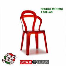 Silla Titi, apilable, Scab Design transparente rojo, para jardín, restaurante...