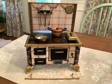 Vintage Schopper German Tin Toy Stove w Utensils & Cookware Doll Kitchen