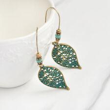 Fashion Women Hollow Leaf Bead Earrings Long Dangle Drop Costume Jewelry Vintage