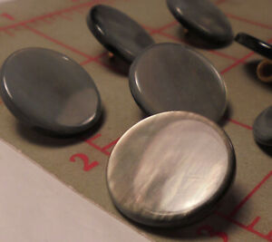 """6 Fine Italian LG Shank Buttons Pearlized Grey Marble Look Smooth Flat 1-1/8"""""""