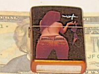 New ZIPPO Windproof USA LIGHTER 21184 Neal Taylor Pin Up Holding Her Bra Bottom