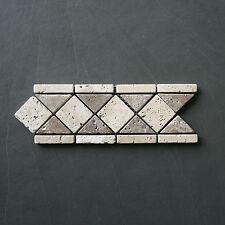 1 Stück Bordüre Travertin auf Netz, antik Marmor, Rauten, Naturstein