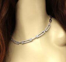 Not Enhanced 14k White Gold Choker Fine Diamond Necklaces & Pendants