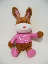 PLUSH BROWN BUNNY WITH PINK JACKET SHOES EASTER BASKET DECORATION SPRING