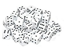 50 White Dice, 12mm , D6 (6 sided)