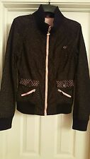 CUTE WOMEN'S XL FOX Racing blazer jacket coat black pink blue specks sporty posh