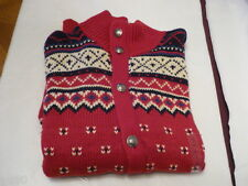 RALPH LAUREN Mens cardigan sweater RED multi color Size LARGE NWT!