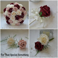 Wedding Bouquet Posy Dusty Pink burgundy buttonholes Bridesmaid Flower Girl Wand