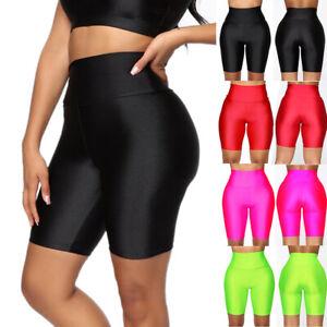 Womens Shorts Gym Shiny Lycra Girls Biker Sports Running Cycling Leggings h/d