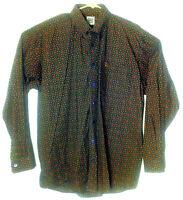 Cinch Brown Blue Geometric Button Up Shirt Western Rodeo Long Sleeve Men Large