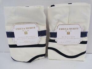 Pottery Barn Emily Meritt Scallop Shams S/2 Standard Black Egret #9729