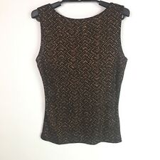 A. Byer Juniors Womens Tank Top Black Gold Brown Glitter Size Large