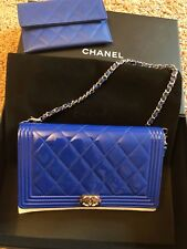 Brand New Chanel Le Boy WOC Wallet On Chain Clutch Royal Blue Patent Leather Bag