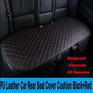 PU Leather Breathable Universal Car Rear Back Seat Cover Cushion Pad Black+Red
