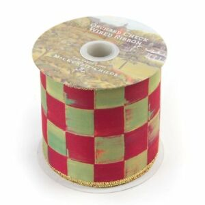 """NEW!  Mackenzie Childs ** 2 YARDS (72"""") ** 4"""" Wide Orchard Check WIRED Ribbon"""