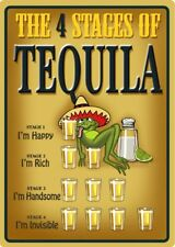 THE 4 STAGES OF TEQUILA METAL SIGN BEER BAR PUB MAN CAVE HAPPY RICH HANDSOME