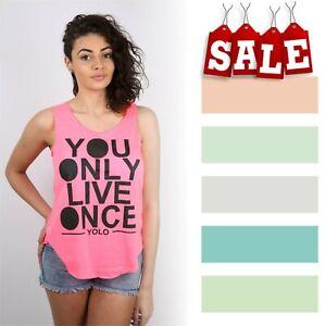Women Ladies Yolo Slogan Print Vest Trendy Summer Tank Shirt Fashion Top