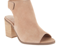Sole Society Suede Peep-Toe Ankle Booties Jagger Caramel Women's Size 6 New