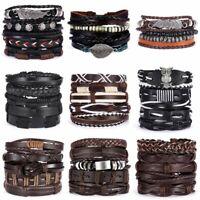 Father's Day Bracelets Set Leather Wrap Braided Men Punk Wristband Cuff Bangle