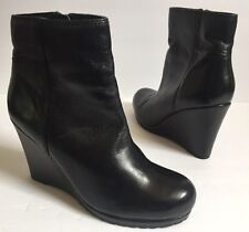 Aldo Black Leather Wedge Ankle Boots Women's Size 39/ 9