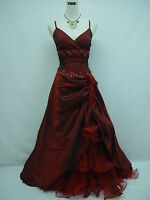 Cherlone Satin Burgundy Lace Prom Ball Wedding/Evening Bridesmaid Gown Dress