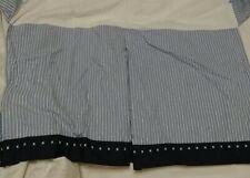 Pottery Barn Kids Blue White Stripe Baby Crib Skirt Pleats Embroidery Nautical