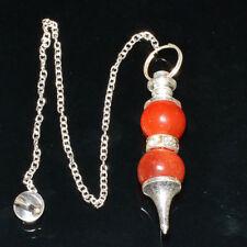 40-45 MM Natural Carnelian Two Beads Crystal Healing Dowsing Pendulum
