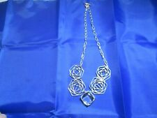 VINTAGE STERLING SILVER ART MODERNE 12 INCH NECKLACE AND EARRING SET