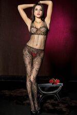 Stunning Black Floral Lace String Bodice Bodystocking Pantyhose Bodysuit Bralet